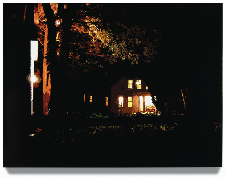 "House at Night I, 2006, 45"" x 60"", Oil enamel on canvas"