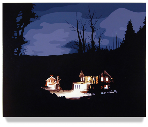 "House at Night II (Bantam,CT), 2012, 32"" x 40"", Oil on canvas"