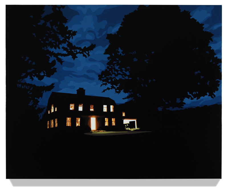 """House at Night III (Washington,CT), 2013, 32"""" x 40"""", Oil on linen"""