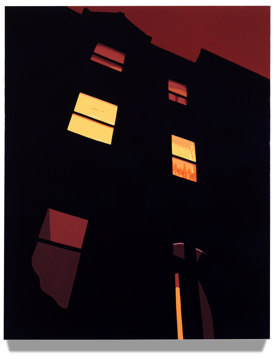 "House at Night V (Brownstone), 2014, 30"" x 24"", Oil on linen"