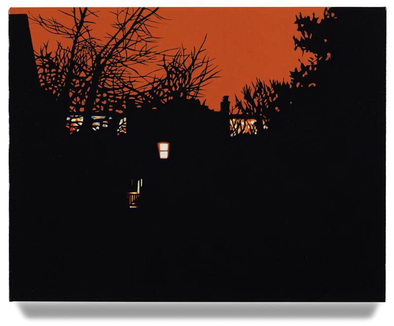 """House at Night VI (Arlington,VA), 2014, 14"""" x 18"""", Oil on linen"""