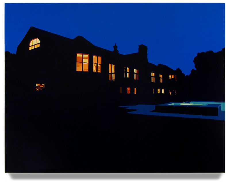 "House at Night VII (Roxbury,CT), 2015, 42"" x 55"", Oil on linen"