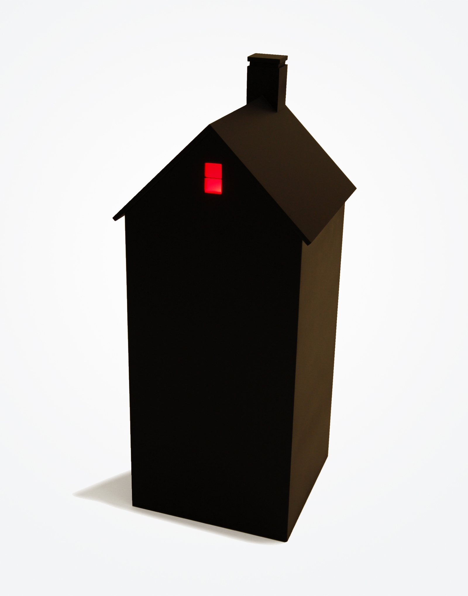 "Houses at Night III (attic), 2015, 26 3/4""h x 11""w x 11""d, wood, plexi, bulb, battery"