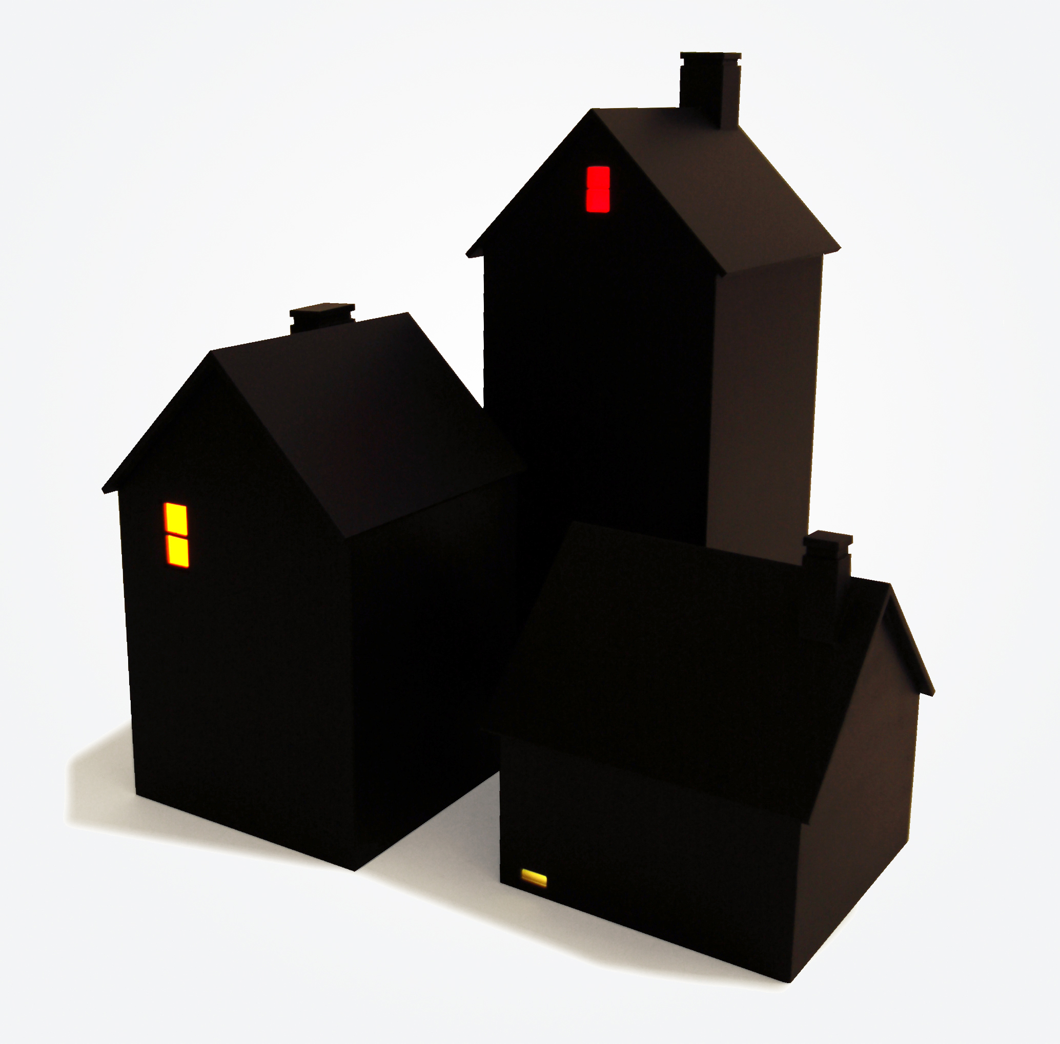 Houses at Night, 2015, wood, plexi, bulb, battery