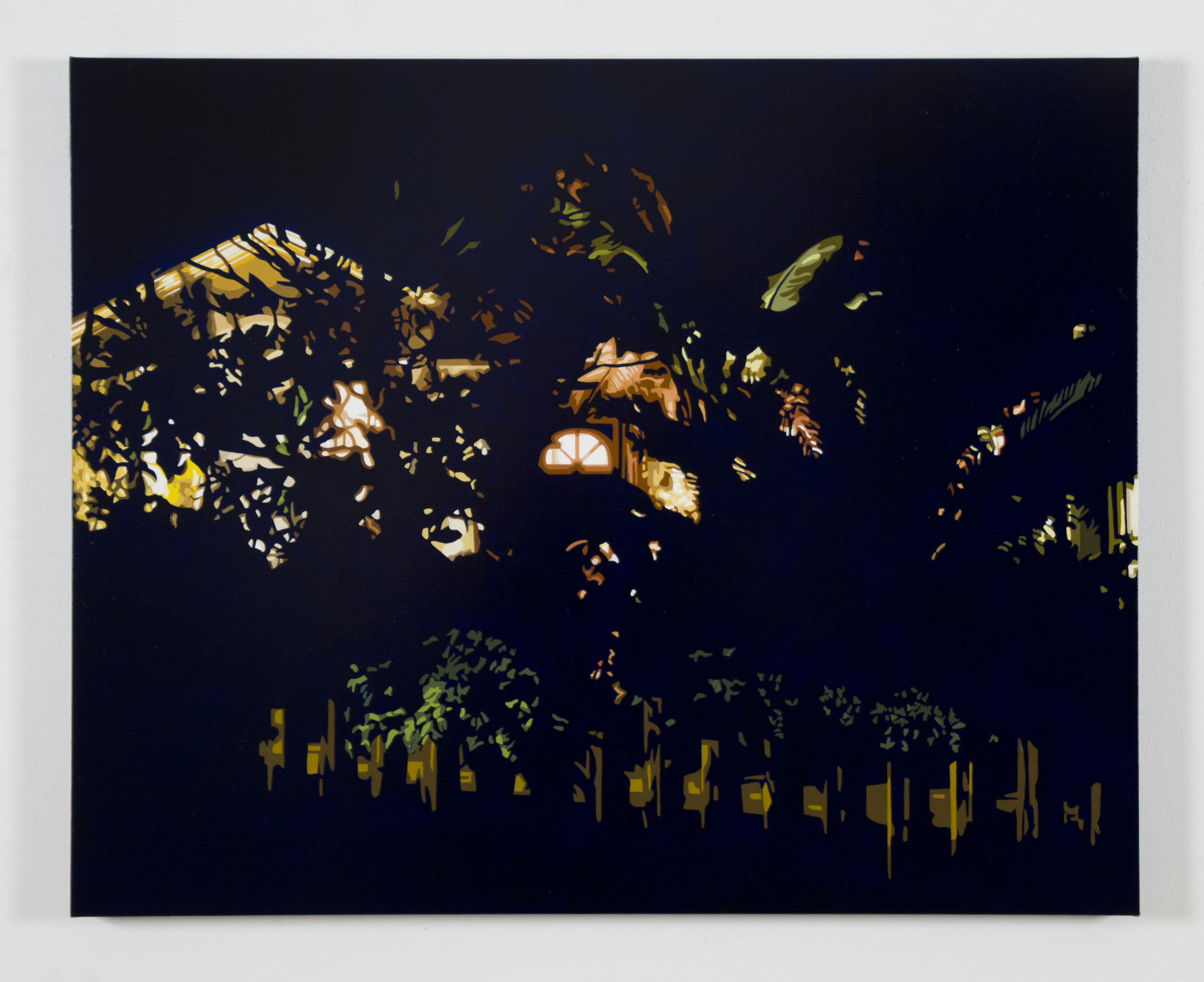 "House at Night XIII (Arlington, VA), 2017, 24"" x 30"", Oil on linen"