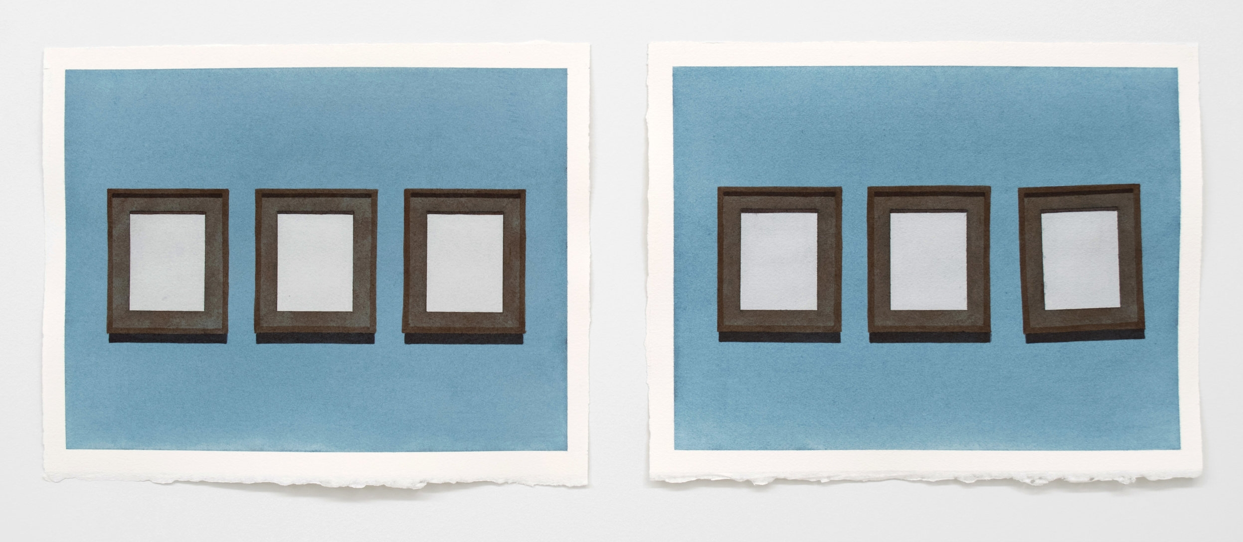 "Frames,  10"" x 13"" ea. (diptych), Watercolor"