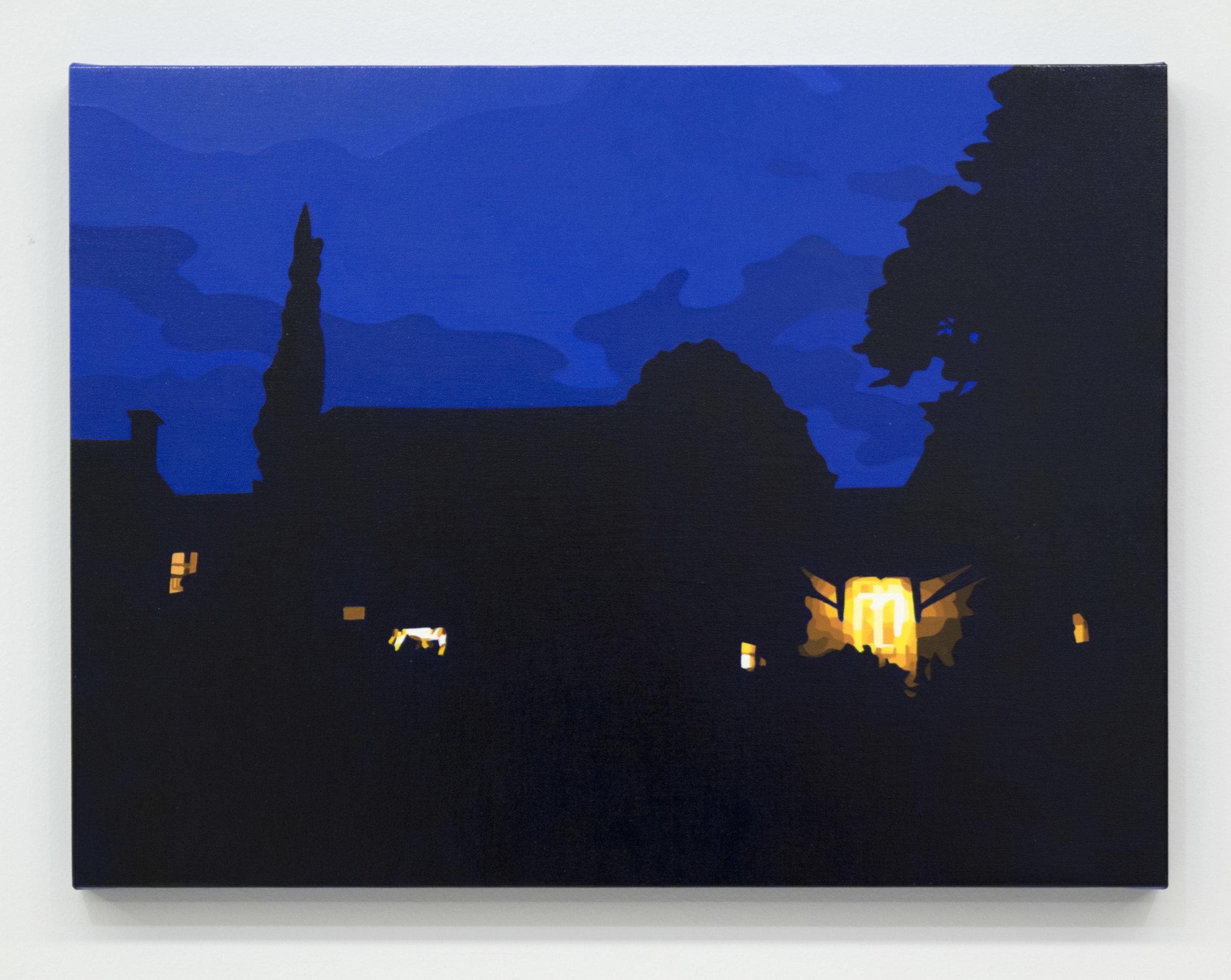 """House at Night XVI (Dordogne, France) 2018, 11"""" x 14"""", Oil on linen"""