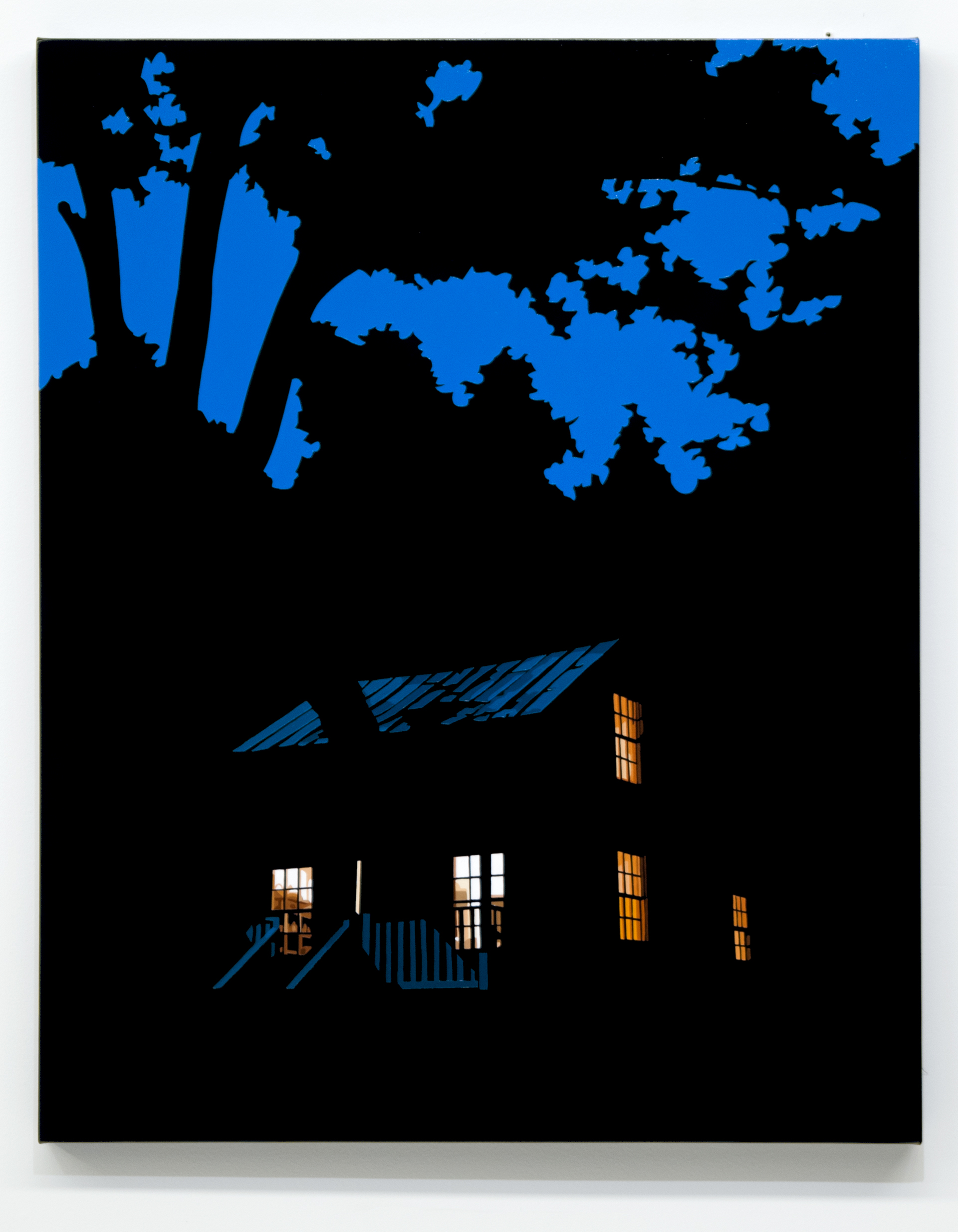 """House at Night XVIIII (Clay House, Roanoke College, VA) 2018, 30"""" x 24"""", oil on linen"""