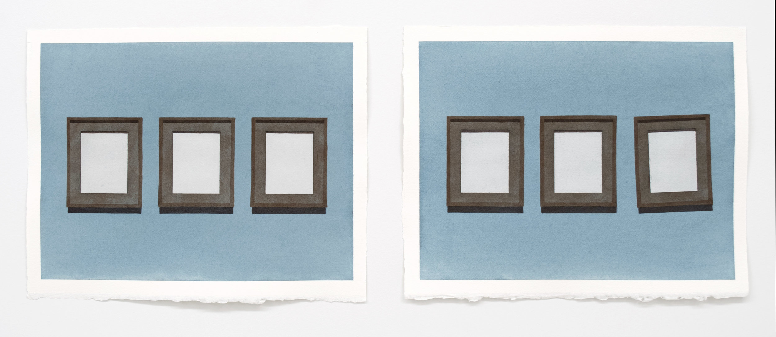 "Doug No. 1  ,  2018, 11"" x 14"" ea. diptych, watercolor on paper"