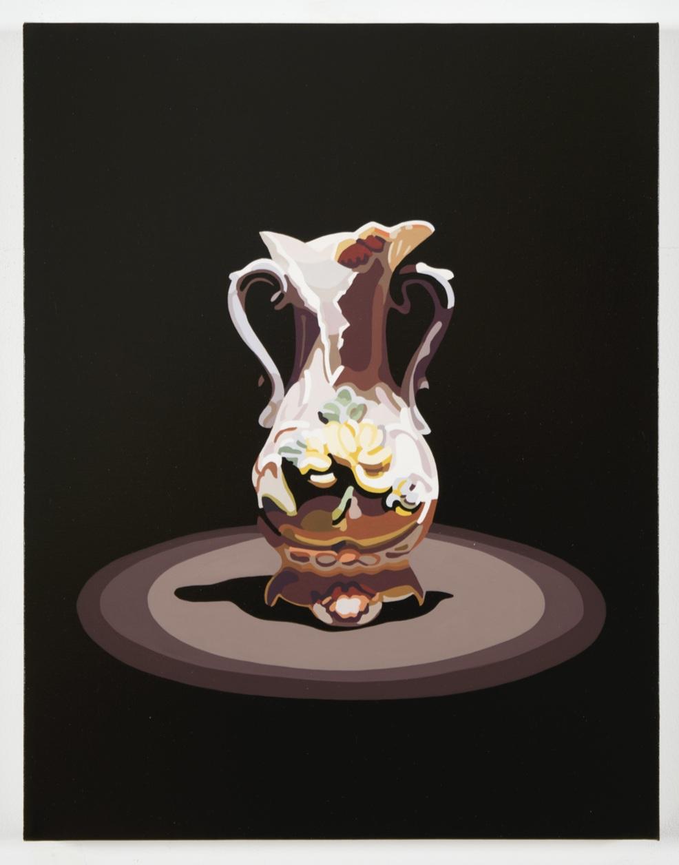 """Relics  (vase). 2017, 18"""" x 14"""", oil on linen, (AR component below)"""