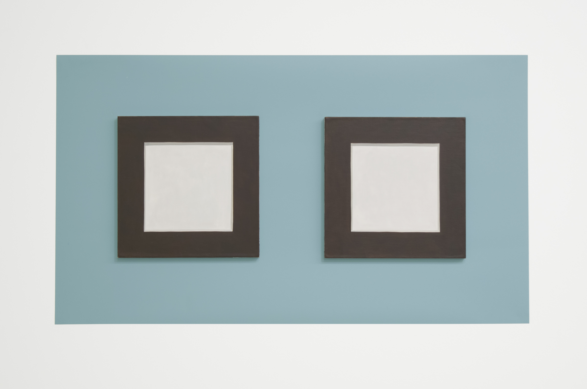 "Doug No. 1   2018, 15"" h x 26"" w x 1/4"" d (overall).  2 Paintings: 8"" x 8"" x 1/4"" ea., oil on linen over panel.  Wall: Benjamin Moore paint: Century Larimar #P3."