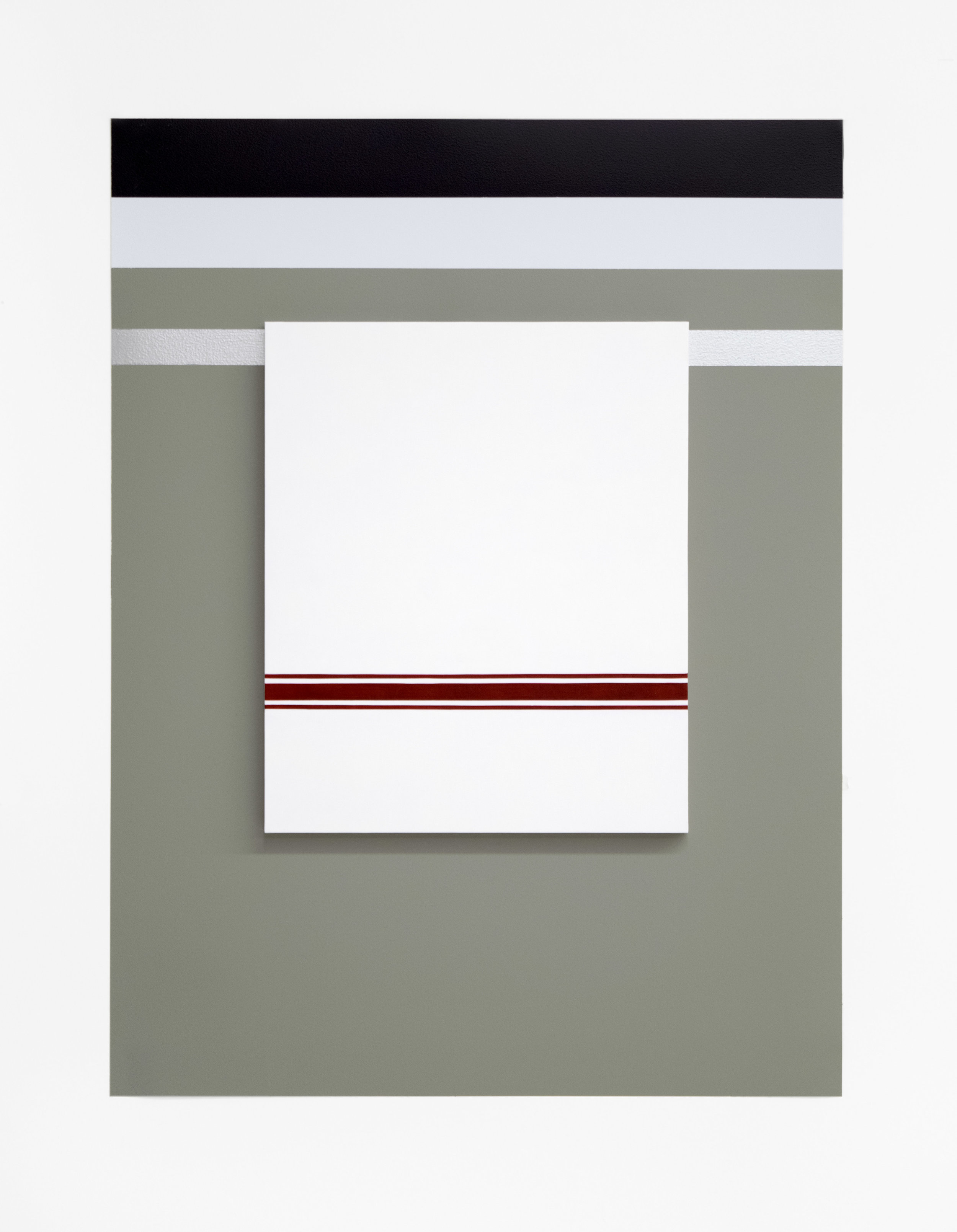 "Self Portrait No. 3   2019, 28"" h x 21"" w x 3/4"" d (overall).  1 Painting: 14 ½"" x 12"" x 3/4"", oil on linen over panel.  Wall: Benjamin Moore House paints: Secret #AF-710,  White Diamond #2121-60, #Black Berry 2119-20, silver paint."