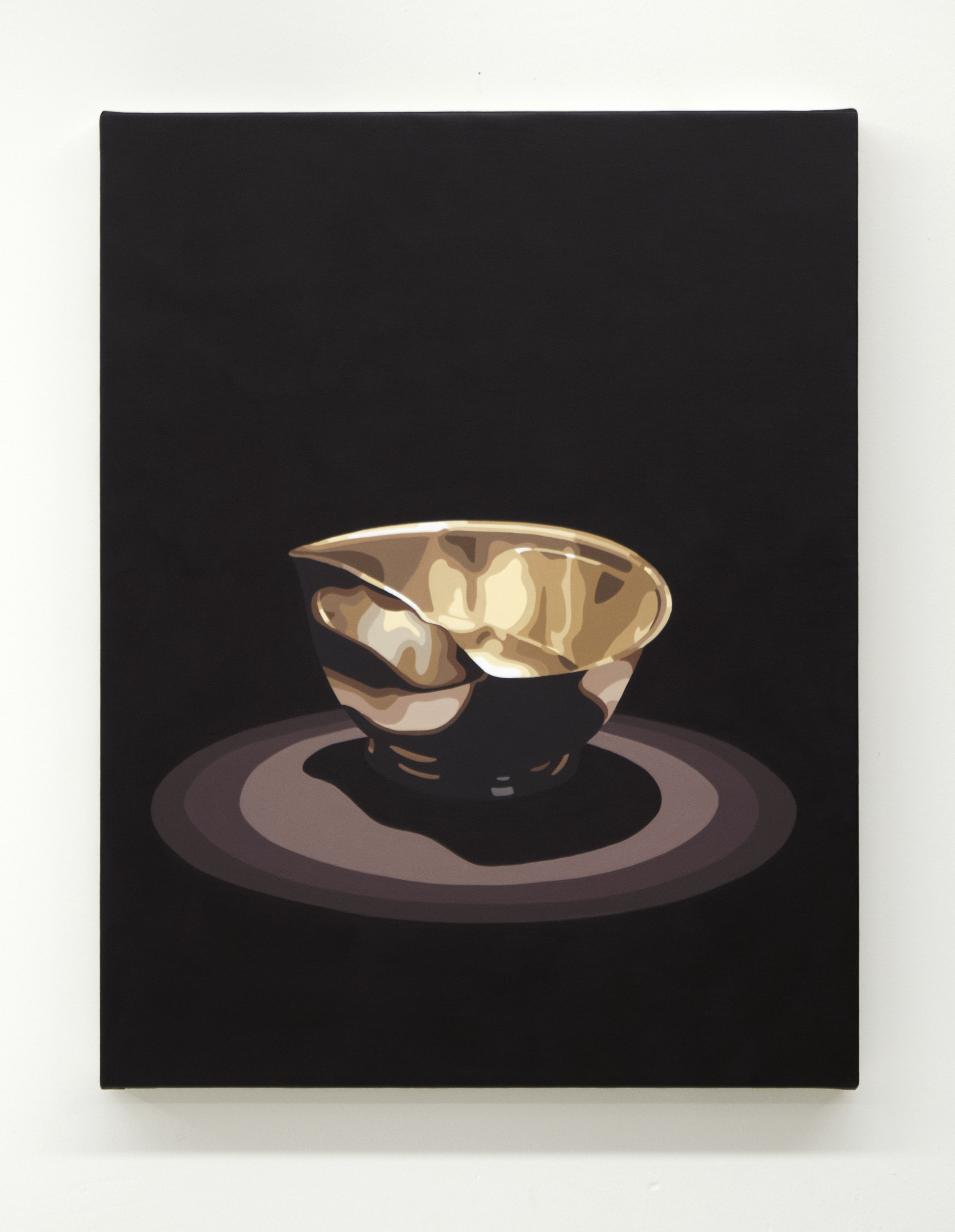 "Relic (bowl)  2019, 18"" x 14"", oil on linen, (AR component below) Duration 00:01:28"