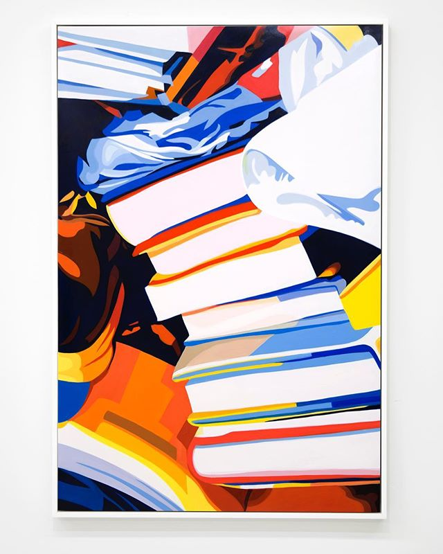 """The Hidden World of Objects,"" curated by Kelcey Edwards, included four richly colored and optically vibrant paintings by Richard Pasquarelli. Partly representational and partly abstract, these sensual images of Pasquarelli unexpectedly come across as peculiar still lifes depicting slices of dense and disorganized spaces inhabited by the absent individual whose existence is largely linked to such objects as electronic devices, books and piles of paper, suggestive of the quintessence of the untidy home, corporate workplace or academic office. Among the paintings executed through oil on mylar and mounted on panels, ""Ed No. 8"" represents an almost tumbling pile of seven books whose tails and heads traverse the picture plane from the lower right side of the composition upwards toward the left. The apparently falling pile of books is crowned with an unrecognizable form in various shades of blue, artfully pairing similitude and abstraction. Pasquarelli masterfully compresses the pictorial space through a linear and planar syntax of mostly identifiable objects, along with nonrepresentational, dark grounds, although a certain softness of line and fluent layering of paint are also visible. The partial figures of the painting, while conveying the semblance of books, retain a sense of flatness and hence reassert the two-dimensional reality of the picture surface, recalling Andy Warhol's illusory statement, ""… just look at the surface of my paintings… There's nothing behind it."" The tail or head of a given book in Pasquarelli's slippery space appears as a threshold of perusal and scrutiny, perhaps first and foremost of Heinrich Wölfflin's words: ""While in classic art every resource is at the service of formal clarity, the baroque on principle avoids making the picture look as if it were arranged for contemplation, and could ever be exhausted in contemplation."" The Renaissance linearity and clarity of ""Ed No. 8"" are surrounded by Baroque darkness, recession and openness, at times asserting and interrupting the picture's own grammar with such ease. It functions, as suggested by ""The Hidden World of Objects,"" as an invite to a world of words, to the book, to the épistémè."