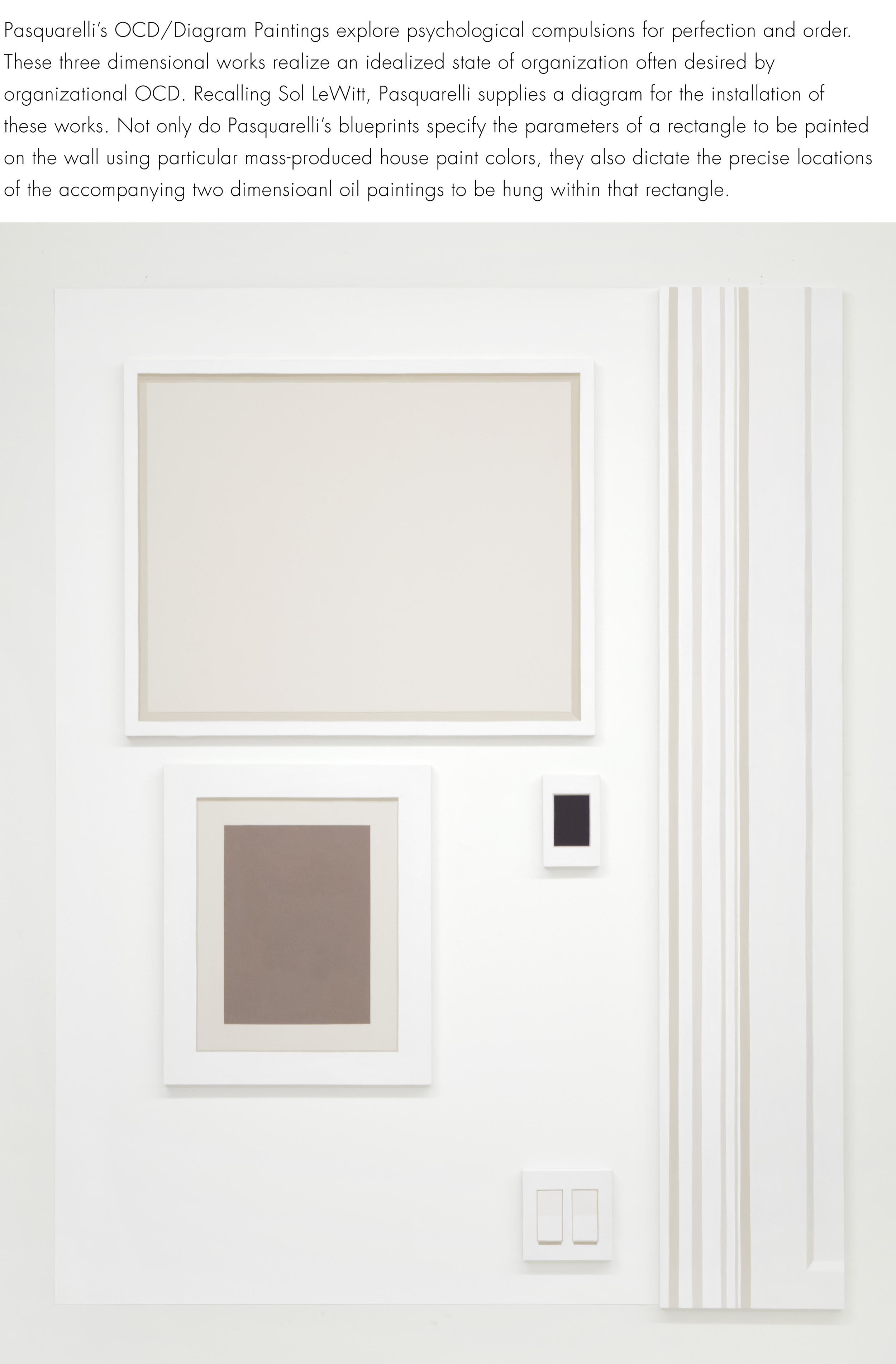 "Self Portrait No. 2,   2019, 54 ¾"" h x 42 ¾"" w x 3/4"" d (overall).  5 paintings, various sizes.  Wall: Benjamin Moore  Super White #N215-02."