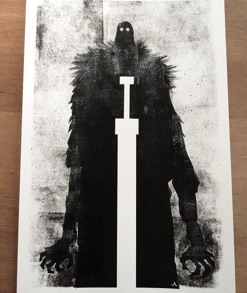 Original black/white painting for RUMBLE.