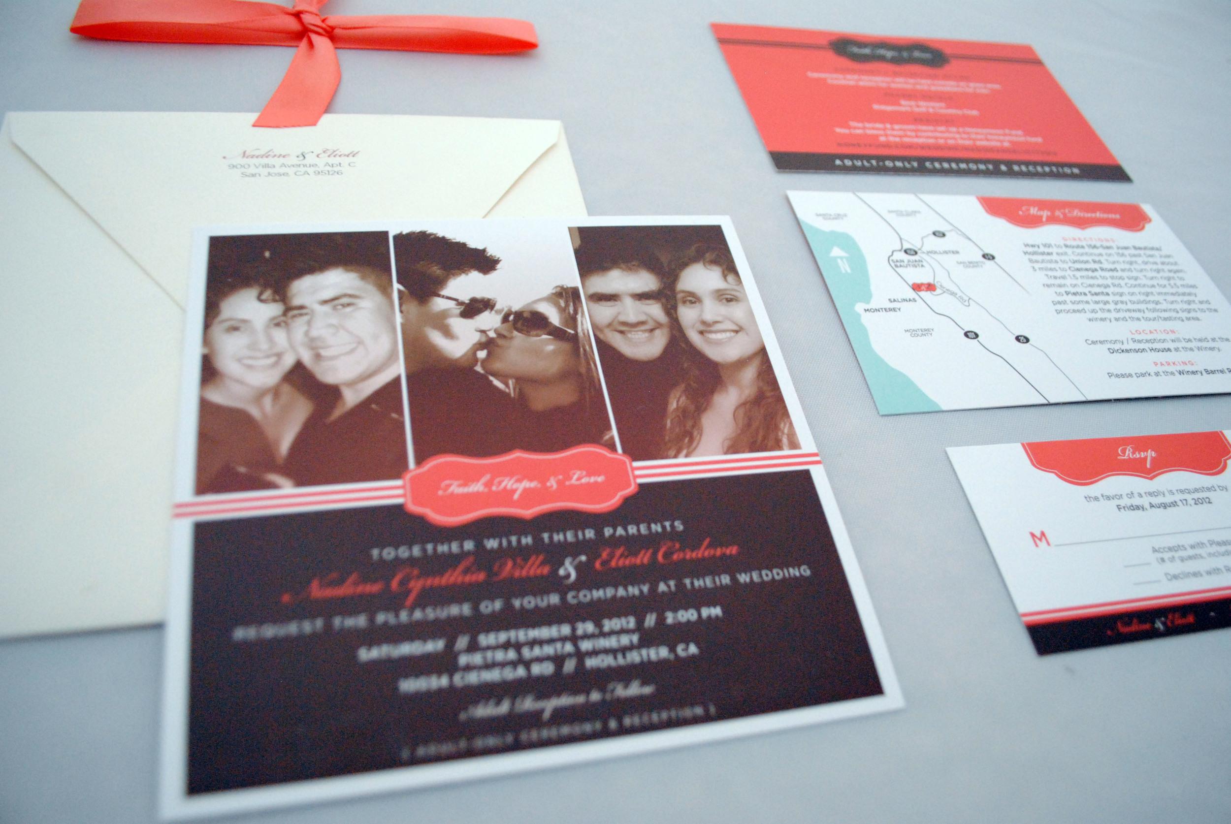 Nadine + Elliot Wedding Invitation Suite Closeup