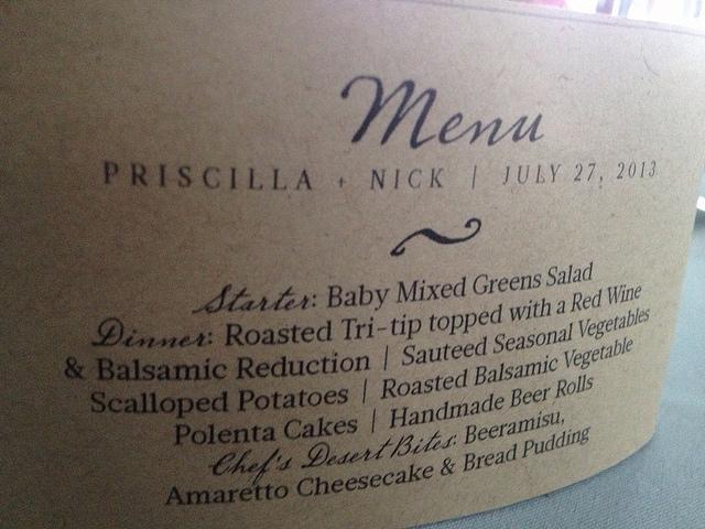 Priscilla + Nick Wedding Menu Sign