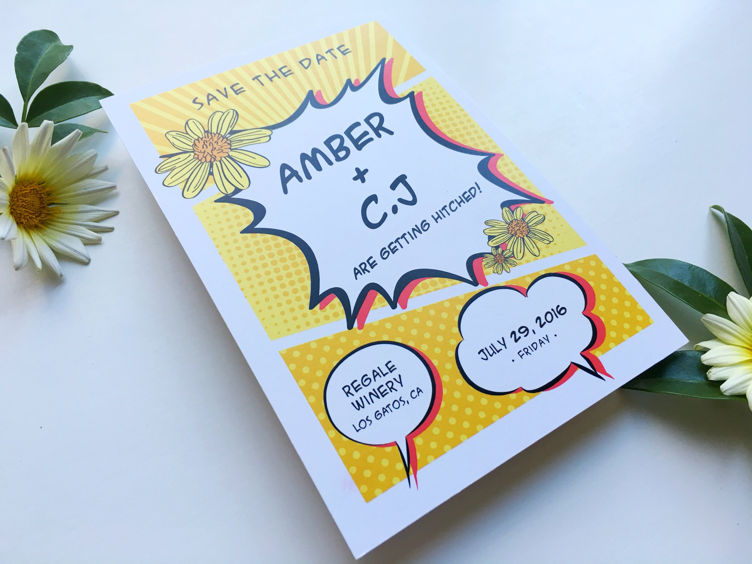 Amber and C.J Comic Book Wedding Save the Date Angle