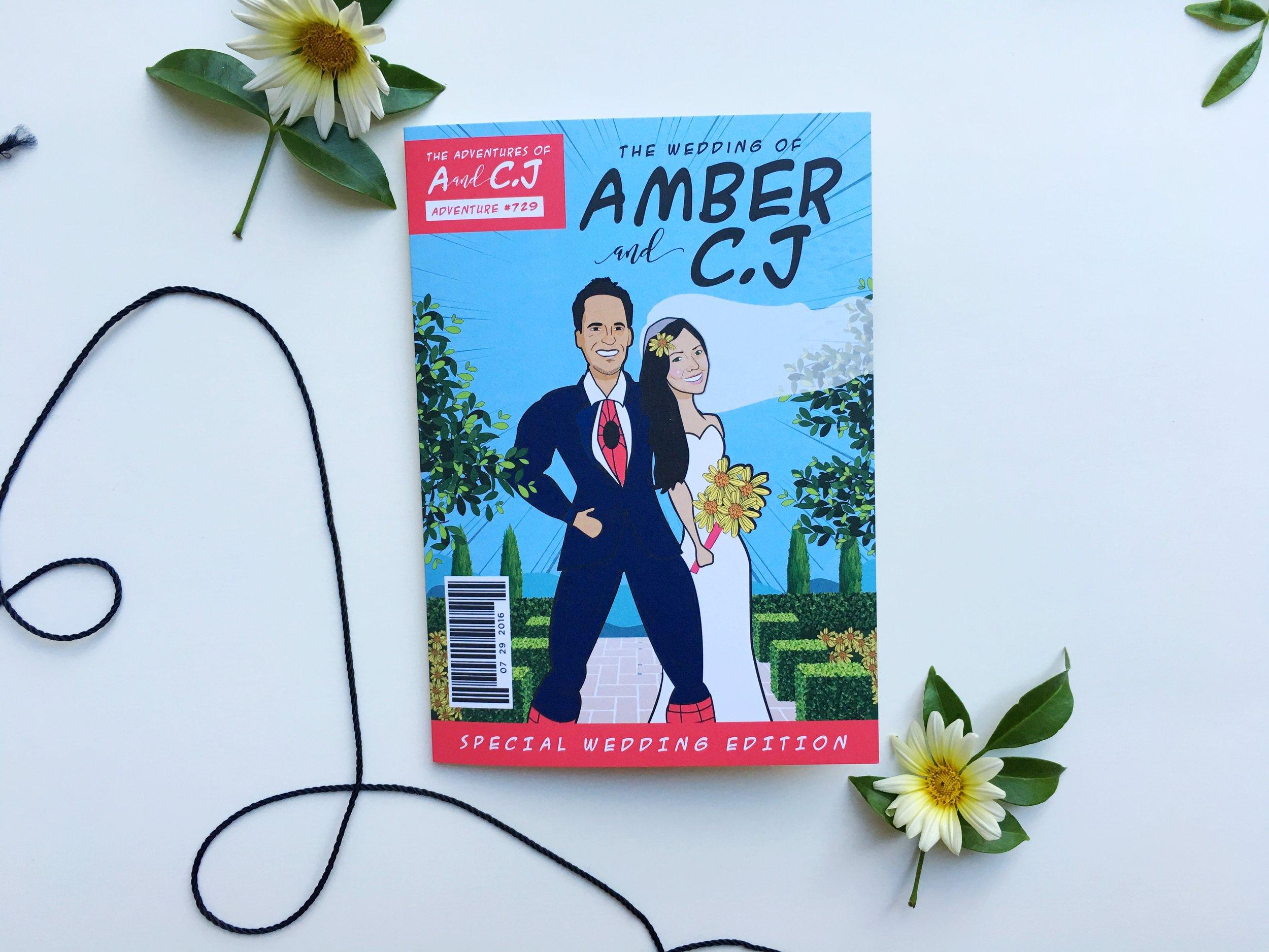 Amber and C.J Comic Book Wedding Invitation