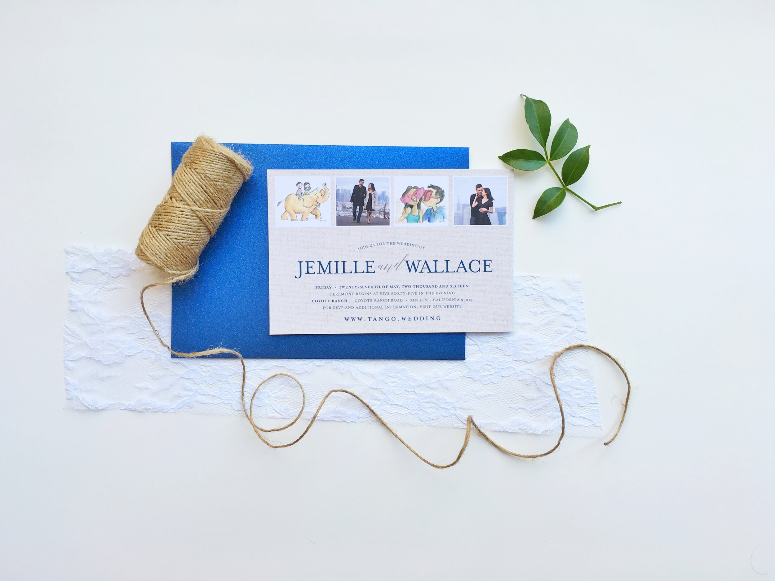 Jemille and Wallace Rustic Photostrip Wedding Invitation