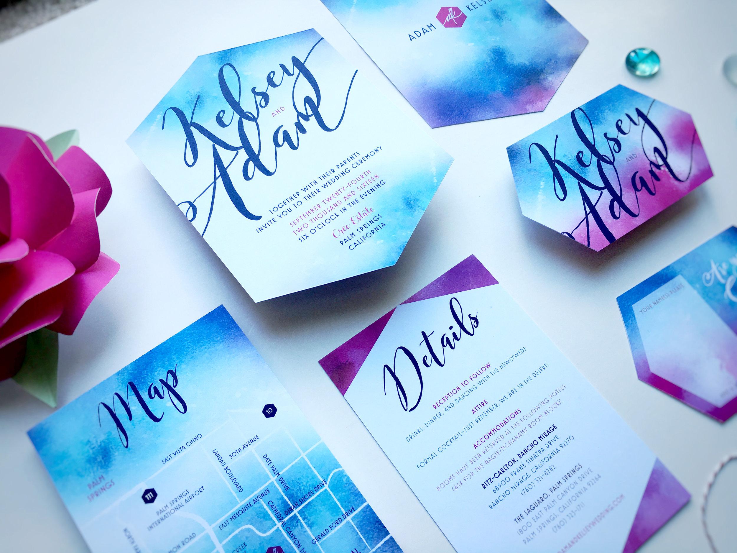 Kelsey and Adam Whimsical Wedding Invitation