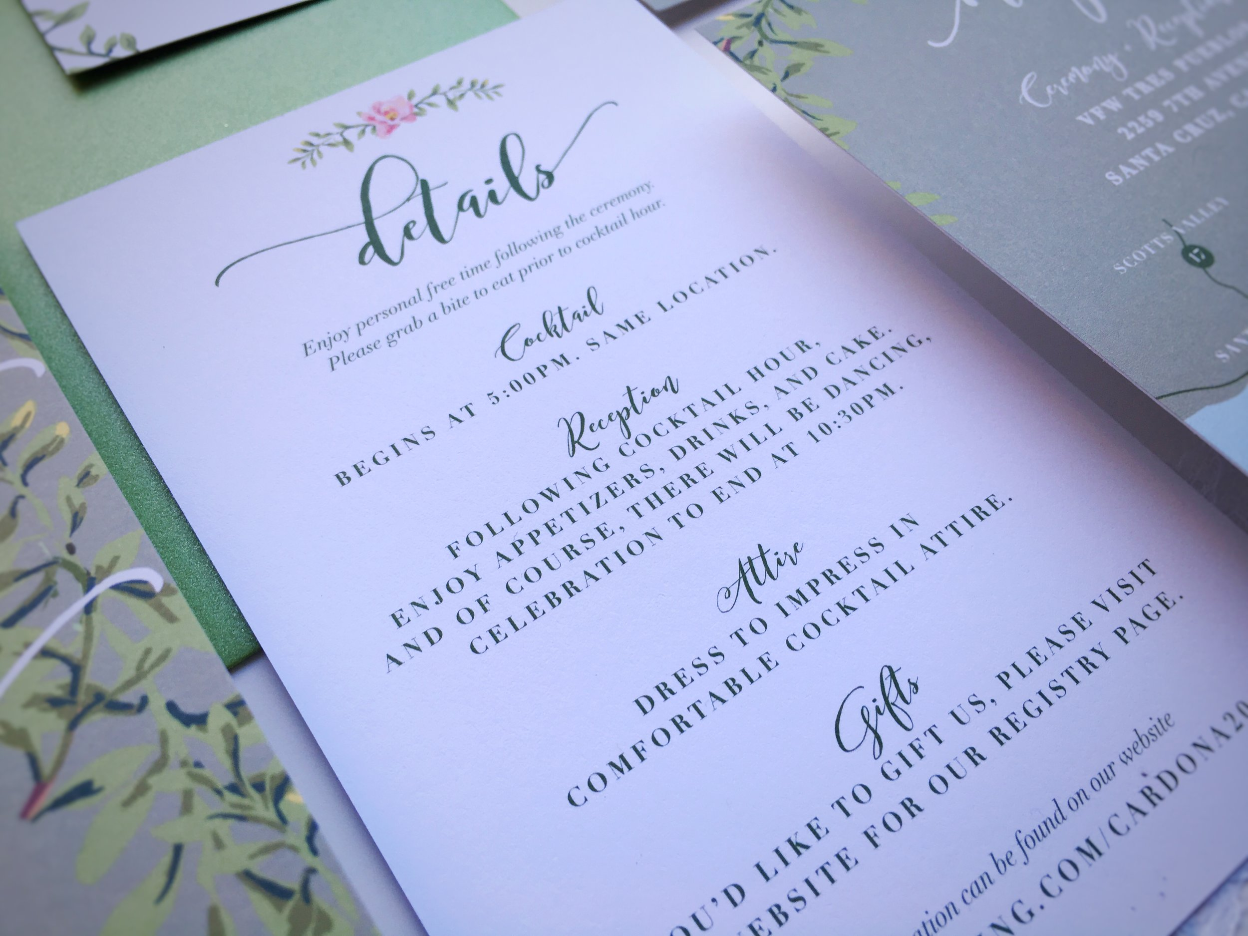 Lydia and Eli Whimsical Rustic Wedding Invitation Suite Details Card