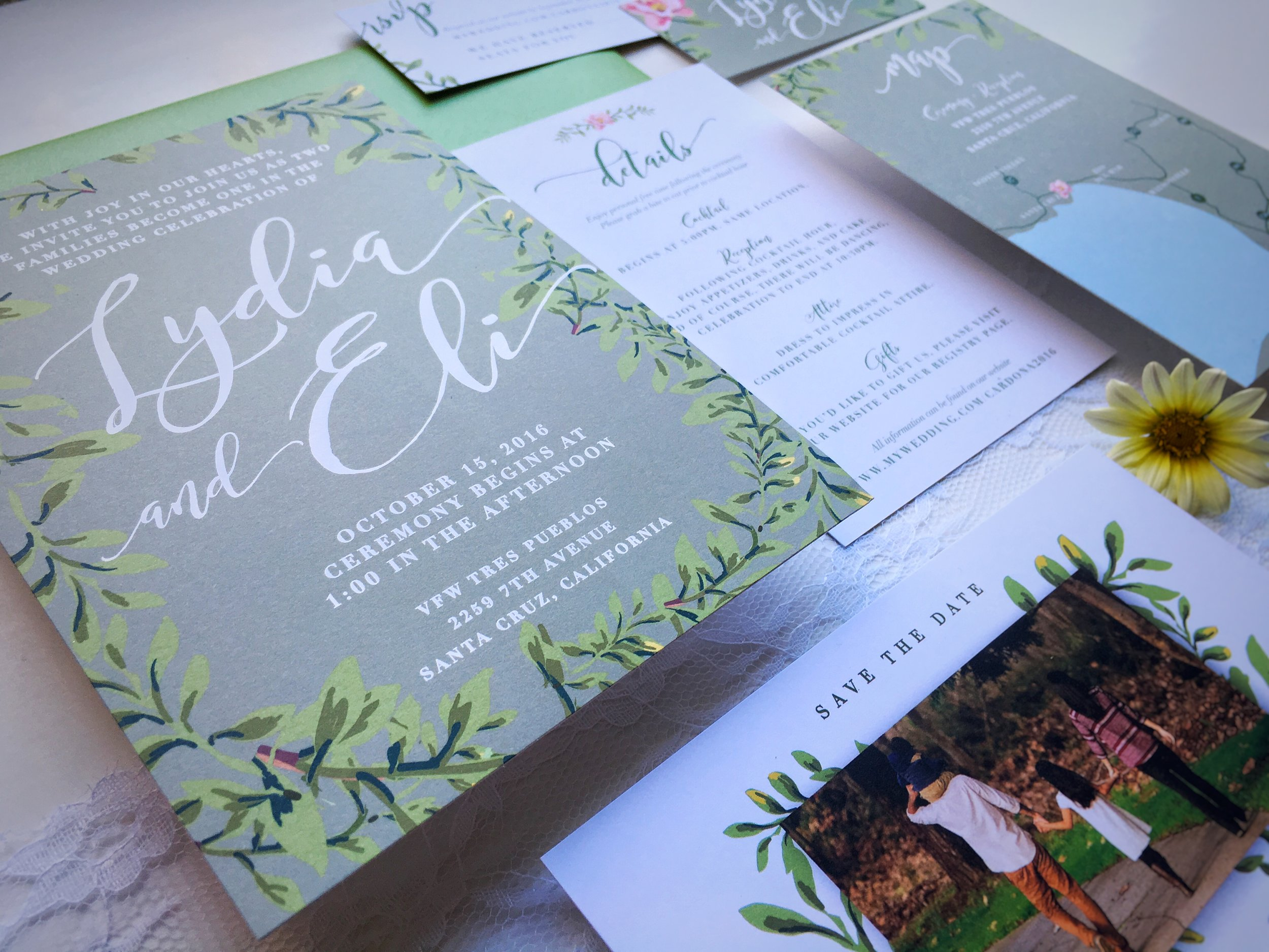 Lydia and Eli Whimsical Rustic Wedding Invitation Suite Detail