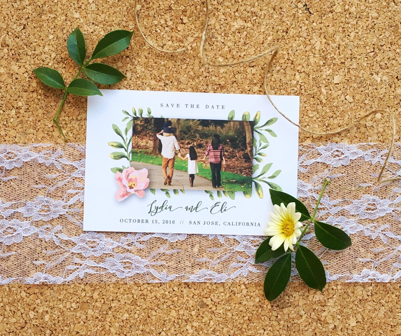 Lydia and Eli Whimsical Rustic Wedding Save the Date
