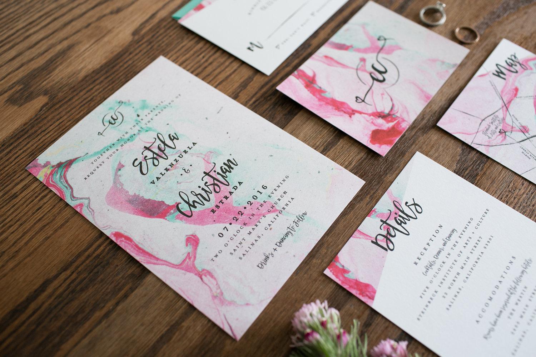 Modern Marble Whimsical Wedding Invitation Suite Invite Detail