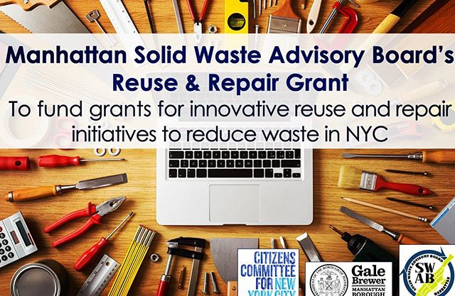 Applications for the Reuse & Repair Grant are now available. @citizenscommittee and @manhattan_swab  are pattering to provide up to $2k to groups starting new reuse & repair projects to reduce waste and contribute to a healthier I'm all 5 boroughs of NYC! Please share!  @nrdc_org @greenthumbgrows @galeabrewer @nyczerowaste @strongestnyc @nycsanitation @donatenyc @sierraclubny @greencityforce @grownyc @nylcv @nychagram @nycmayorsoffice  @ancolienyc @moversnotshakers @thinkzerollc @commoncompost @committogreen @biobag @novamont_group @thedurstorg @carpetcycle @mrtcartingcorp @wearablecollections @home_biogas @simsmuni @ecorichenv @talktrashcity @trashisfortossers @cmreynoso34 @toastaleusa