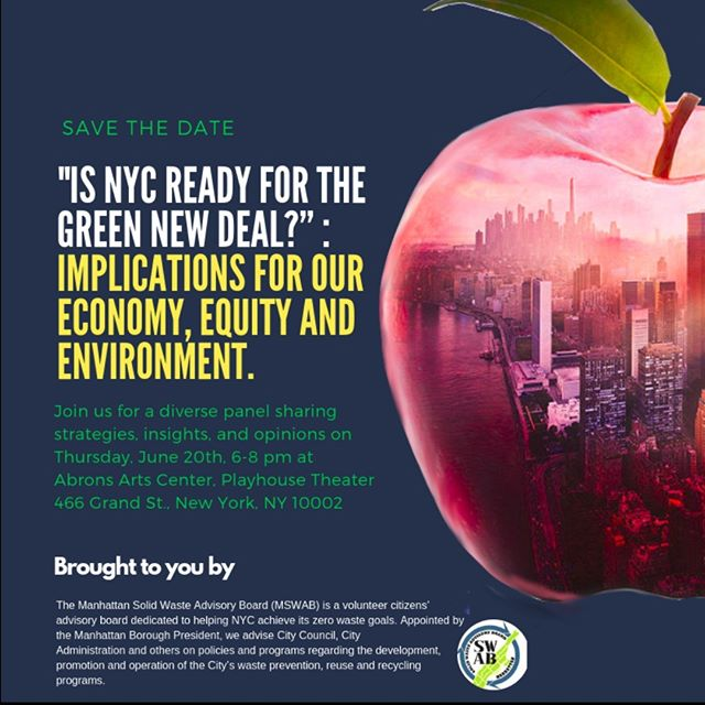 Save the Date! Join us on June 20th for a discussion on the #GreenNewDeal for #NYC. More details to come.