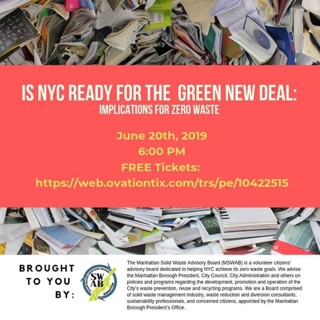 Join us on June 20th for a conversation on the #GreenNewDeal and #ZeroWaste.  The event is free and open to the public but registration is required: https://web.ovationtix.com/trs/pe/10422515