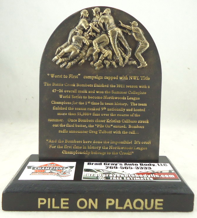 Battcle Creek Bombers - Commemorative Championship Pile On Plaque 109256, 6x5in.JPG