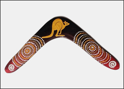 Authentic Australian Aboriginal Returning Handmade Boomerang. 17 inch   Two families coming together