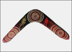 Authentic Australian Aboriginal Returning Handmade Boomerang. 17 inch   Family values