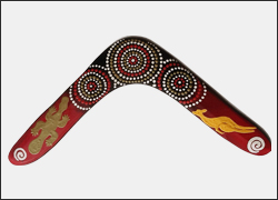 Authentic Australian Aboriginal Returning Handmade Boomerang. 17 inch   Close Families