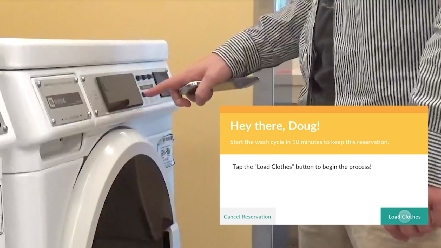 Use technology-integrated laundry machines that supply detergent, softener, and easy coin-free payment. They wash and dry clothes without having to switch machines, and will send you a text message when your laundry is done.