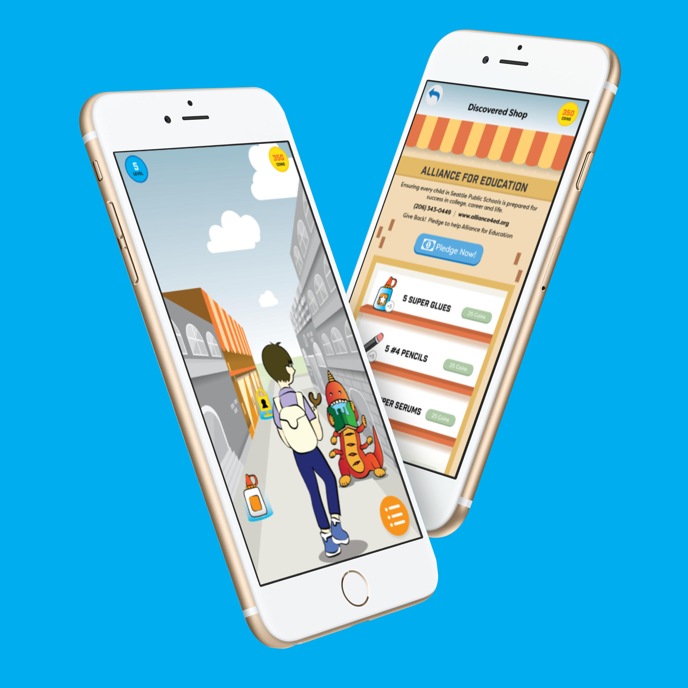 Good Aim - Interaction & Visual DesignGaming, Augmented Reality, Mobile (2016)Good Aim is an augmented reality mobile game that helps students learn about local community needs and responsibly donate to charities.