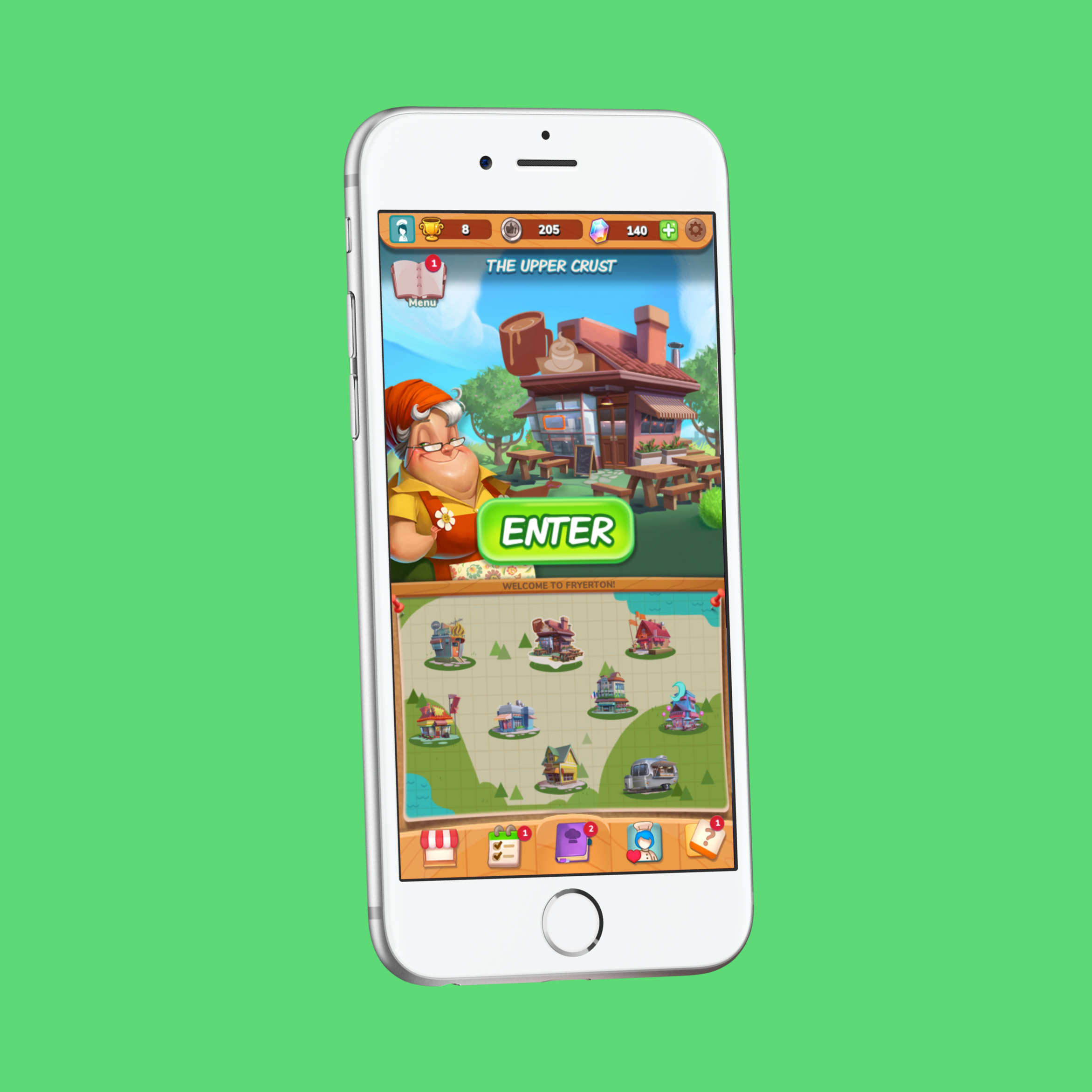 Let's Dish: Map - Interaction DesignMobile, Gaming (2018)Let's Dish is a cooking-themed mobile video game with a match-3 game mechanic. Think Candy Crush, but with gourmet food!