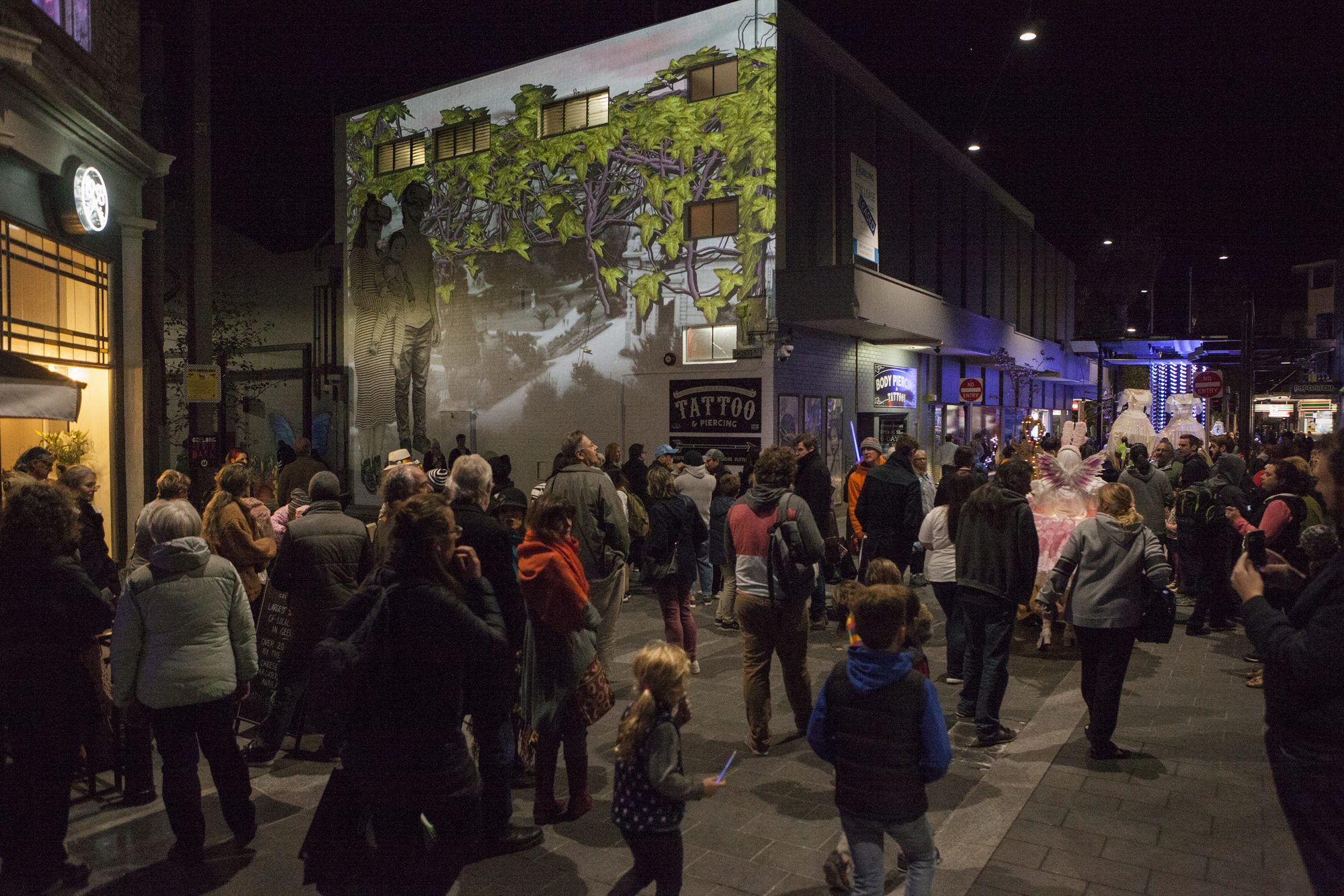 Geelong After Dark 2018 Baby Guerilla Street with Olaf Meyer projection Photographer: Christina Francis