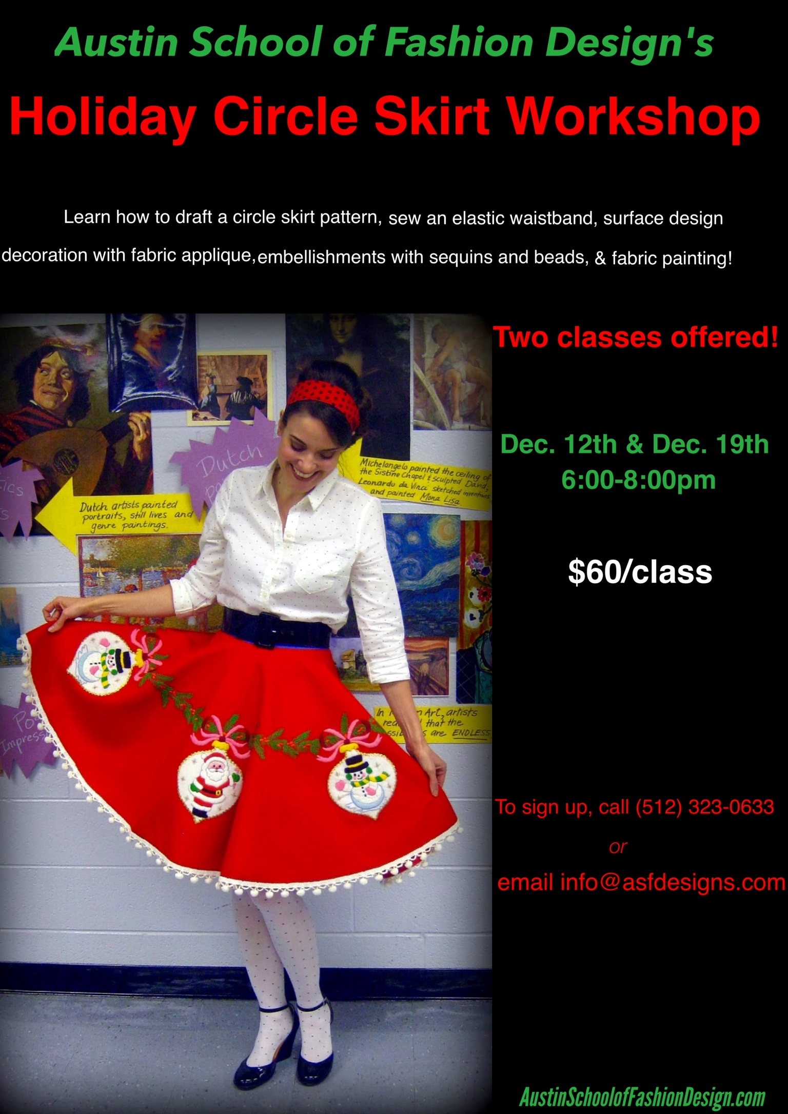 Austin School Fashion Design Holiday Circle Skirt Workshop