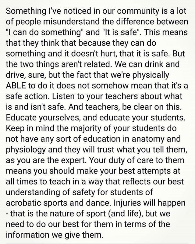 I posted this on FB yesterday and have had a hell of a lot of positive feedback, which made me really happy, as I believe so many awesome studios, teachers, trainers AND students are taking safety and responsible coaching seriously and this is a marvellous thing for our industry 💜