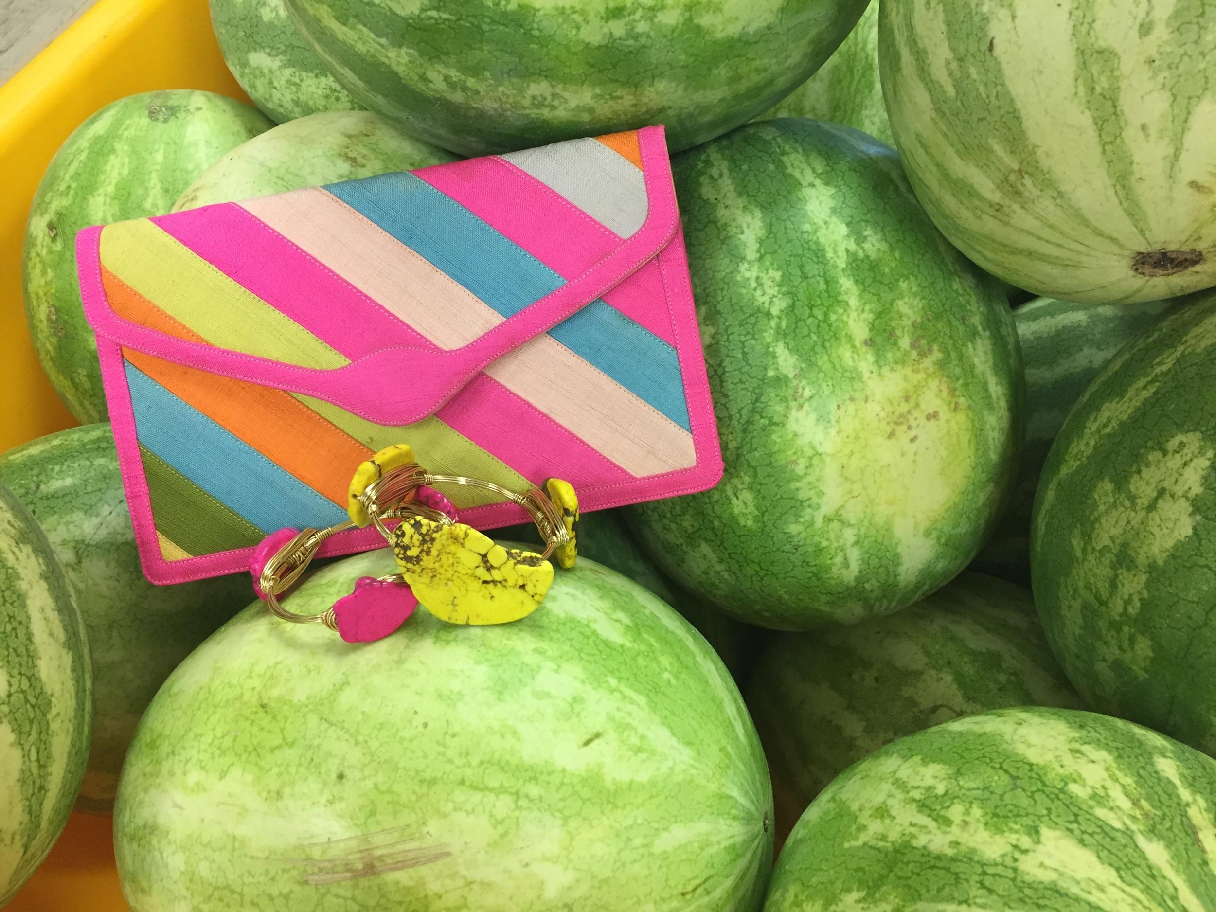 Bangles by Sweet Tea Jewels:Yellow Mustard andHavana Cabana, purse: VintageBag by Coblentz