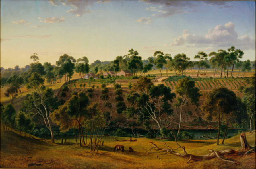 Eugene von Guerard, The farm of Mr Perry on the Yarra 1855, oil on canvas, 60.1 x 91.2   cm