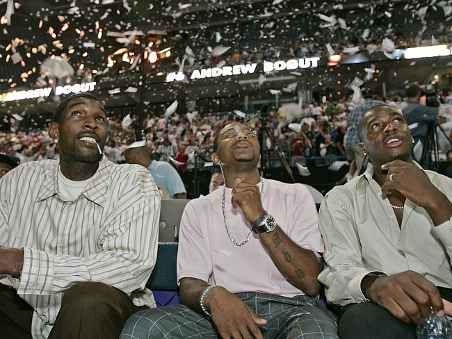 Joe Smith, Mo Williams and Desmond Mason watch as the Bucks pick Andrew Bogut with their No.1 pick in the 2005 Draft. Source: AP