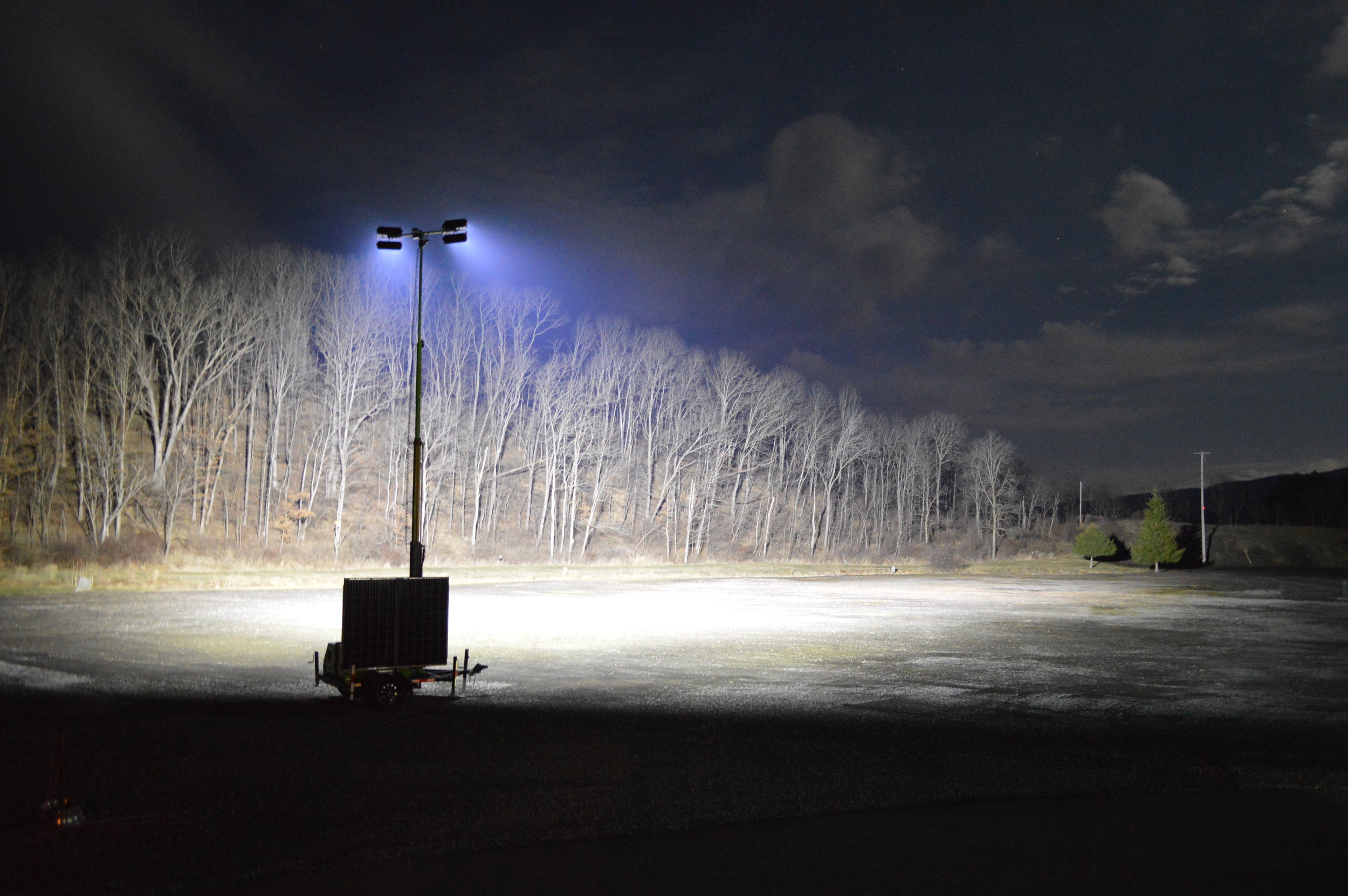 One of Dominight's solar hybrid Towers providing Massive light output During testing. Now assisting african and american troops in burkina faso, africa.