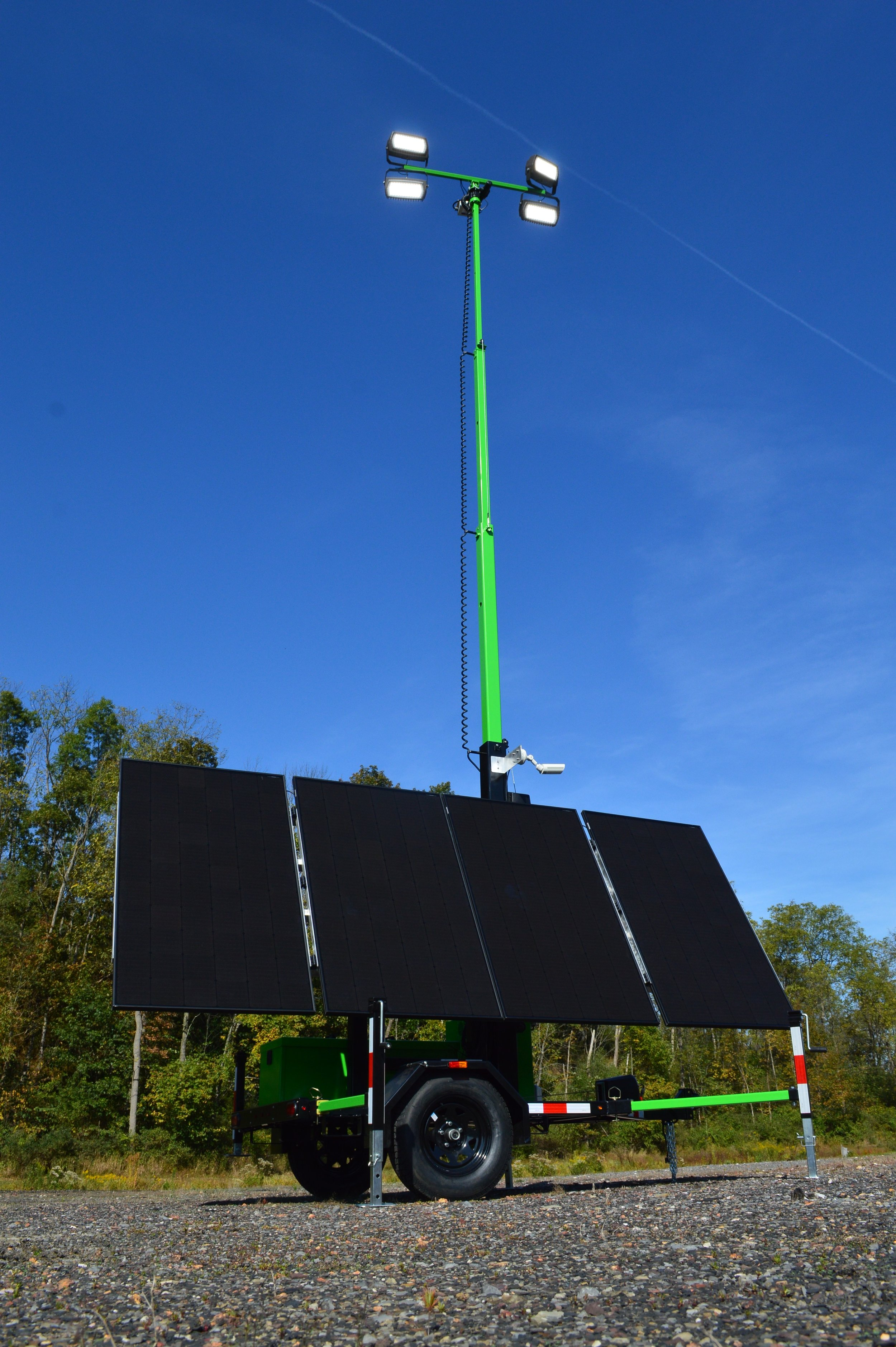 ZERO DIESEL. - When we say ZERO DIESEL, we mean it. That includes diesel used in generators, commonly deployed to recharge our competitor's solar light towers. Unlike the others, Dominight's NG Solar light tower is a 100% self-sustaining, emission free alternative to diesel light towers. A 1,300 watt solar array, coupled to a 10 kilo-watt lithium iron phosphate battery bank, enables Dominight's NG Solar tower to recharge daily, anywhere in the world.