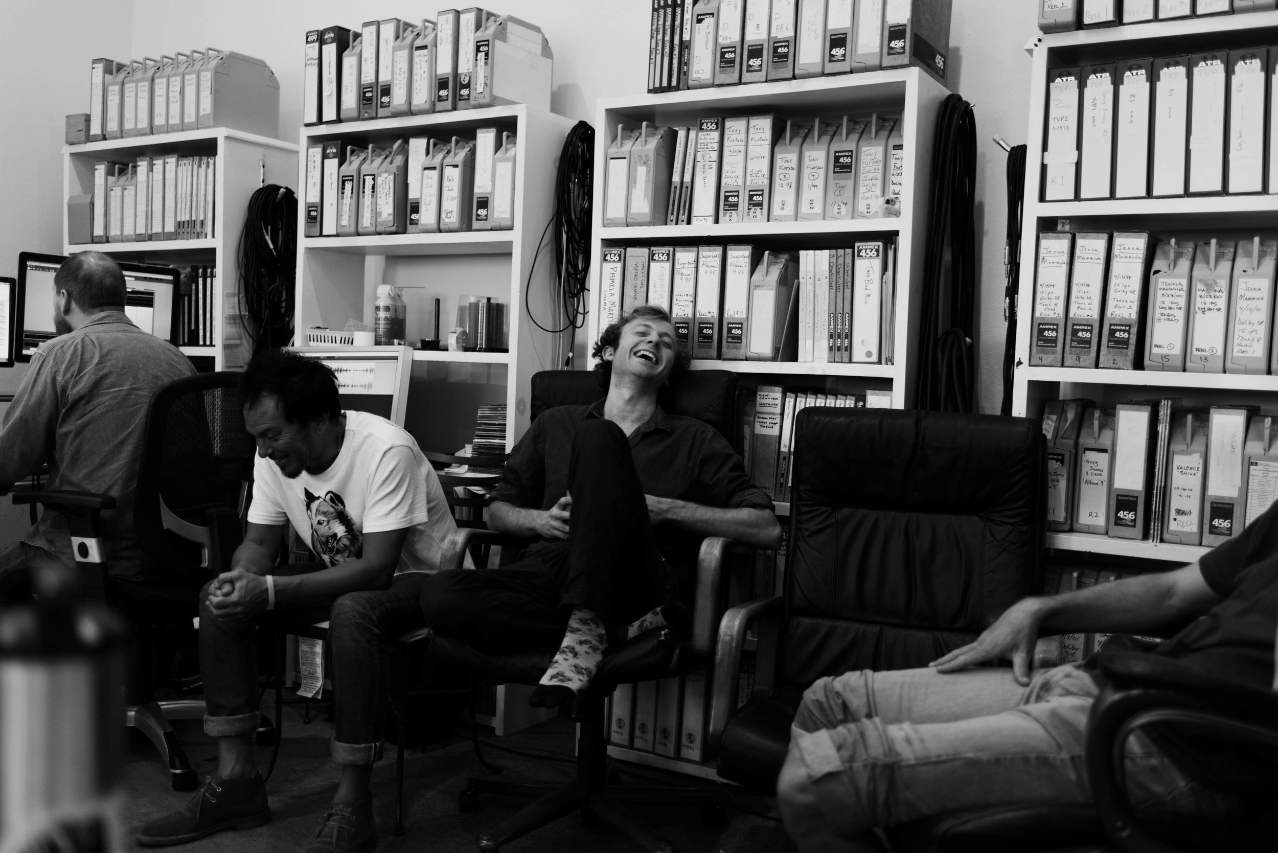 At OTR studios in August with Brain, Hans, and Kendall. Photo by Julian Pitt