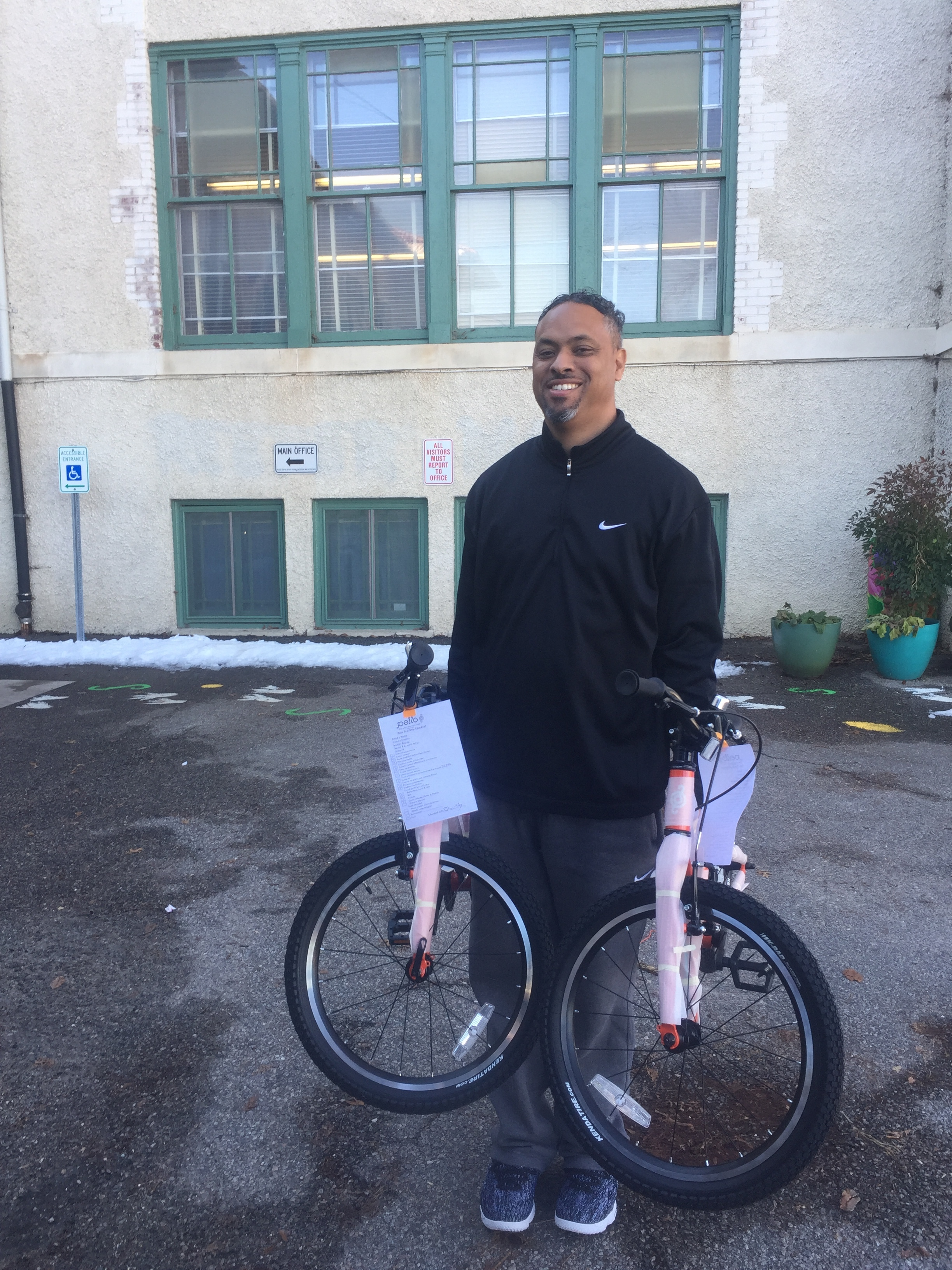 This is Brent and he now has a full set of bikes to teach children how to ride safely!